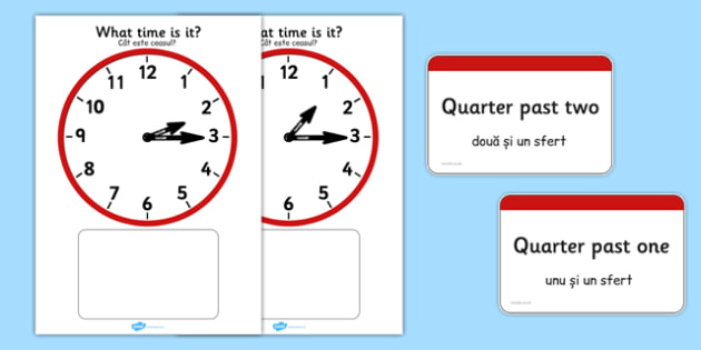 Analogue Clocks Quarter Past Matching Romanian Translation - romanian, Clock time matching game, Time, Time resource, Time vocabulary, clock face, O'clock, half past, quarter past, quarter to, shapes spaces measures, clock game, time game, foundation