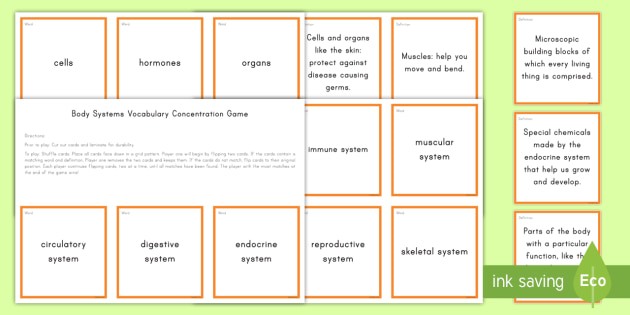 Body Systems Concentration Game - Science Concentration Games, Body Systems, Earth and Sun, Ecology, Weather and Climate, Heat Energy,