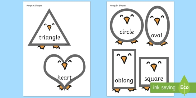 Penguin Shapes - shapes, 2D, 2D shapes, themed shapes, themed 2D shapes, penguin, animals, animal shapes, animal themed shapes, penguin themed shapes