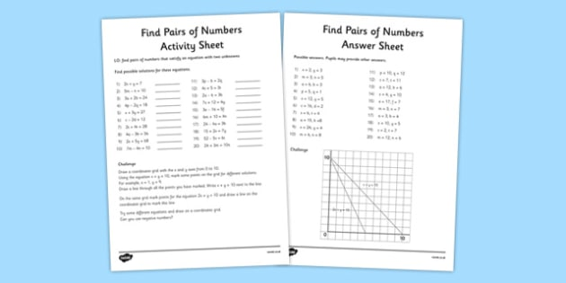 Y6 Find Pairs of Numbers Activity Sheet - year 6, pairs, numbers, activity, sheet, worksheet