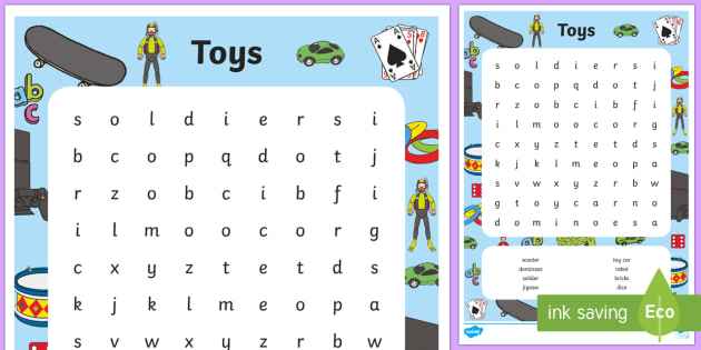 Toy Word Search - toy word search, toy, toys, word search, words, search, activity, circle words, games, play, teddy, doll