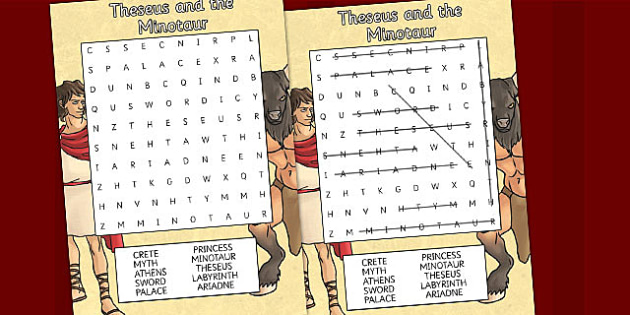 Theseus and the Minotaur Differentiated Wordsearch - word search