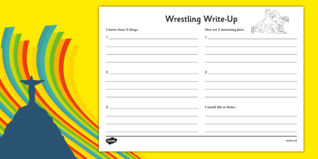 The Olympics Wrestling Write-Up Activity Sheet - the olympics, rio olympics, rio 2016, 2016 olympics, wrestling, write up, activity, worksheet