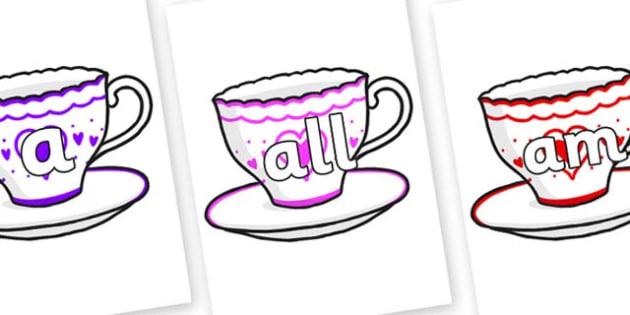 Foundation Stage 2 Keywords on Cups and Saucers - FS2, CLL, keywords, Communication language and literacy,  Display, Key words, high frequency words, foundation stage literacy, DfES Letters and Sounds, Letters and Sounds, spelling