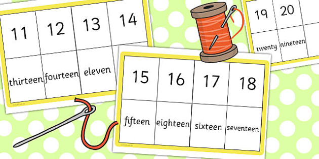 Number Spelling Matching Threading Cards 11 20 - thread, activity