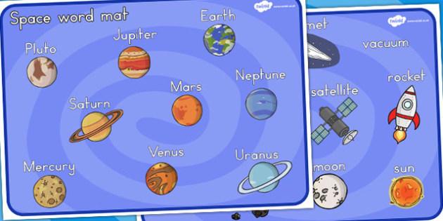 Space Word Mat (Australia) - literacy, visuals, mats, words
