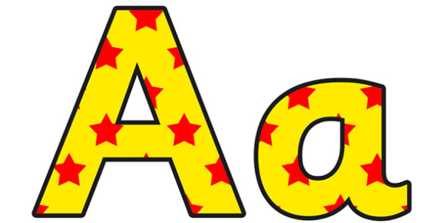 Yellow and Red Stars Small Lowercase Display Lettering - stars display lettering, lowercase display lettering, display lettering, stars