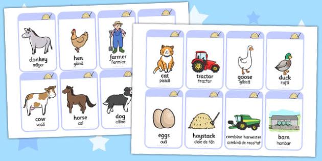 On the Farm Flash Cards Romanian Translation - romanian, farm