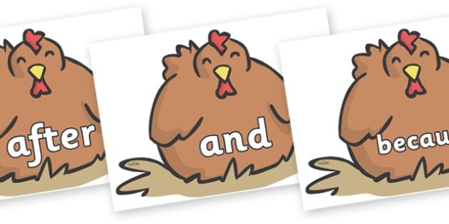 Connectives on Chickens - Connectives, VCOP, connective resources, connectives display words, connective displays