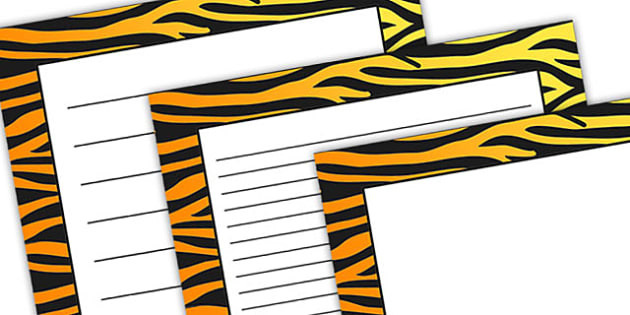 Tiger Pattern Portrait Page Border - safari, safari page borders, tiger page borders, tiger pattern page borders, safari animal pattern page borders