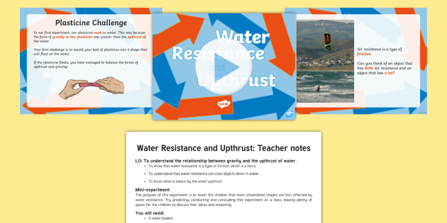 Water Resistance and Upthrust Powerpoint Task Setter and Activity Pack