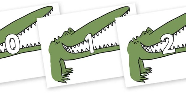 Numbers 0-31 on Enormous Crocodile to Support Teaching on The Enormous Crocodile - 0-31, foundation stage numeracy, Number recognition, Number flashcards, counting, number frieze, Display numbers, number posters