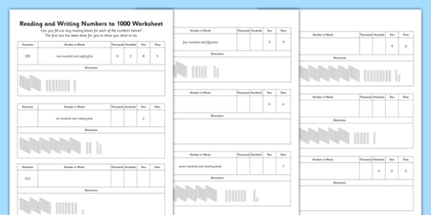 Reading and Writing Numbers to 1000 Worksheet - reading, writing, numbers, 1000, worksheet