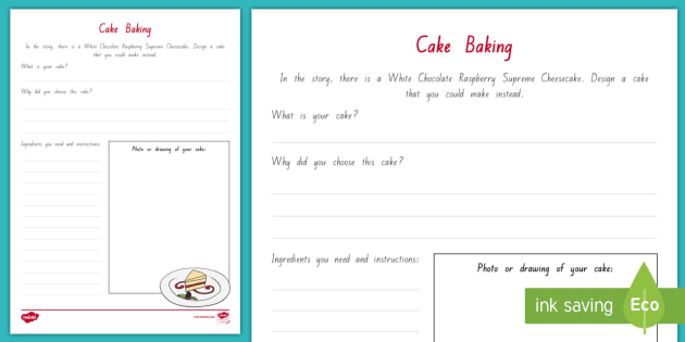 Cake Baking Activity Sheet to Support Teaching on Ms Bixby's Last Day - New Zealand Chapter Chat, Chapter Chat NZ, Chapter Chat, Year 5, Year 6, Ms Bixby's Last Day, Cake,