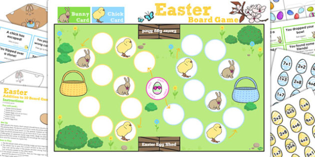 Addition Up to 10 Easter Bunny Hop Board Game - games, activities