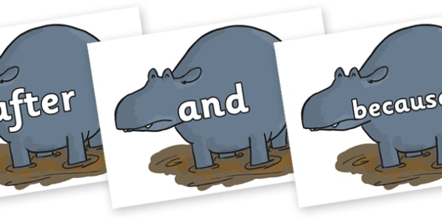 Connectives on Humpy Rumpy Hippopotamus to Support Teaching on The Enormous Crocodile - Connectives, VCOP, connective resources, connectives display words, connective displays