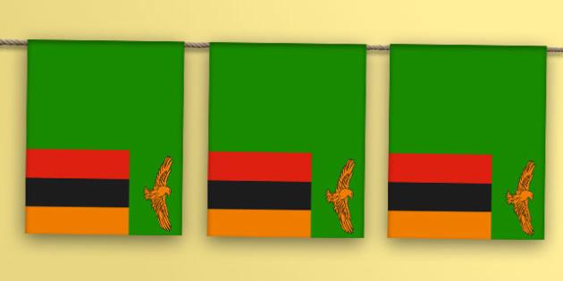 Zambia Flag Bunting - zambia flag, zambia, flag, display bunting, display, bunting