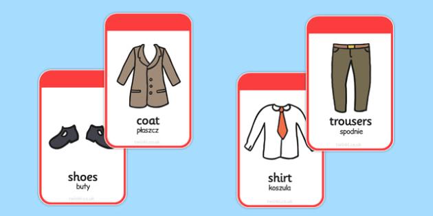 Clothing Flashcards Polish Translation - polish, clothing, flashcards, flash cards