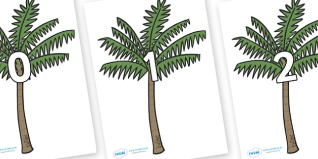 Numbers 0-31 on Palm Trees - 0-31, foundation stage numeracy, Number recognition, Number flashcards, counting, number frieze, Display numbers, number posters