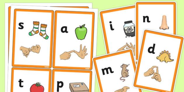 Phase 2 Sound Flash Cards with British Sign Language - phase 2