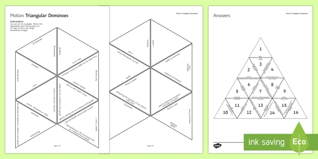 Motion Triangular Dominoes - Tarsia, Triangular Dominoes, Motion, Speed, Distance, Time, mph, m/s, Distance-Time Graphs, plenary activity