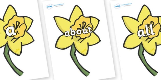 100 High Frequency Words on Daffodils - High frequency words, hfw, DfES Letters and Sounds, Letters and Sounds, display words