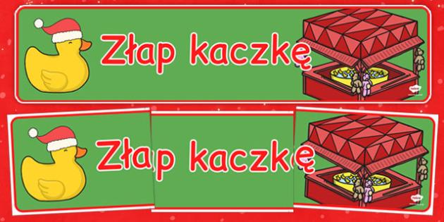 Świąteczny banner Złap kaczkę po polsku - kiermasz, gazetka, gry