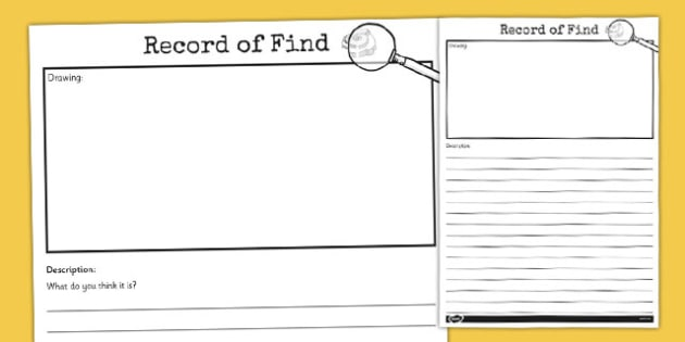 Archaeologist Record of Find Writing Frame - archaeologist, find