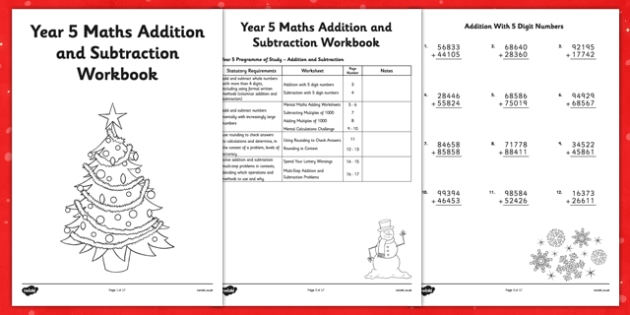Christmas Themed Year 5 Maths Addition and Subtraction Workbook - christmas, maths, addition, subtraction, workbook