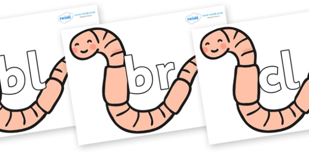 Initial Letter Blends on Earthworms - Initial Letters, initial letter, letter blend, letter blends, consonant, consonants, digraph, trigraph, literacy, alphabet, letters, foundation stage literacy