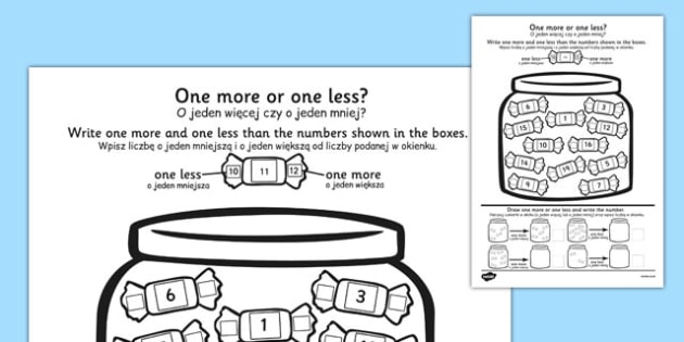 One More One Less Sweet Counting Worksheet Polish Translation - polish, one more, one less, counting