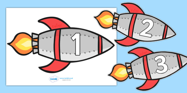 Numbers 0-20 on Rockets - Rocket, space, topic,  foundation stage numeracy, Number recognition, Number flashcards, counting, number frieze, Display numbers, number posters, moon, stars, planet, planets