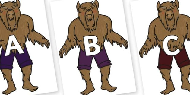 A-Z Alphabet on Beast - A-Z, A4, display, Alphabet frieze, Display letters, Letter posters, A-Z letters, Alphabet flashcards