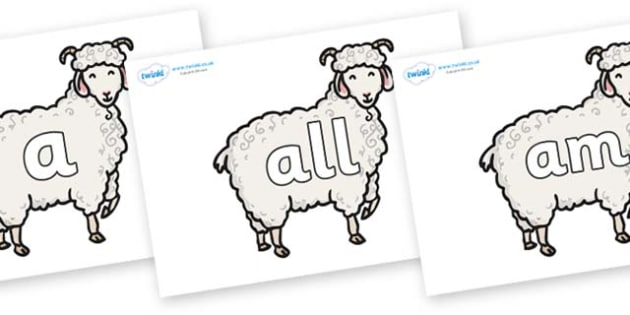 Foundation Stage 2 Keywords on Small Billy Goats - FS2, CLL, keywords, Communication language and literacy,  Display, Key words, high frequency words, foundation stage literacy, DfES Letters and Sounds, Letters and Sounds, spelling