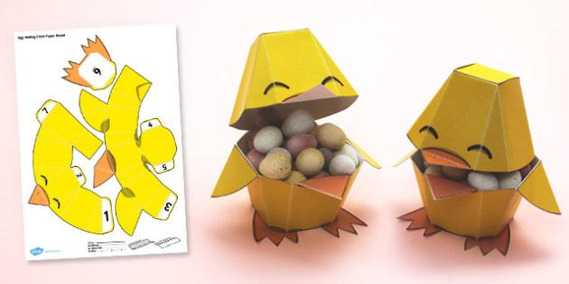 Egg Holding Paper Model - egg, holding, paper, model, craft