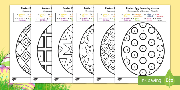 Easter Egg Colour by Number English/Polish - Easter Egg Colouring by Numbers Sheets - colouring, sheets, colouring by numbers, colour by number,