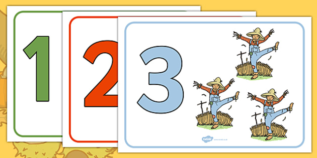 Autumn Number and Object Display Posters (1-20) - Autumn, Foundation Numeracy, Number recognition, Number flashcards, A4, display, harvest,  harvest festival, fruit, apple, pear, orange, wheat, bread, grain, leaves, conker