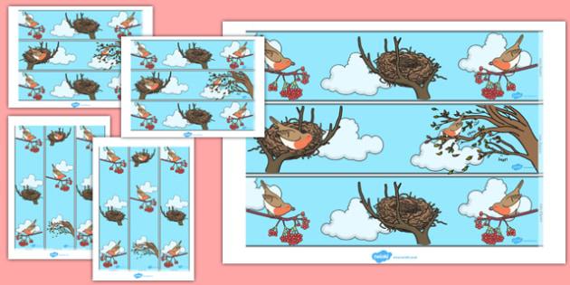 Robin Themed Display Border - robin, display, border, christmas, bird