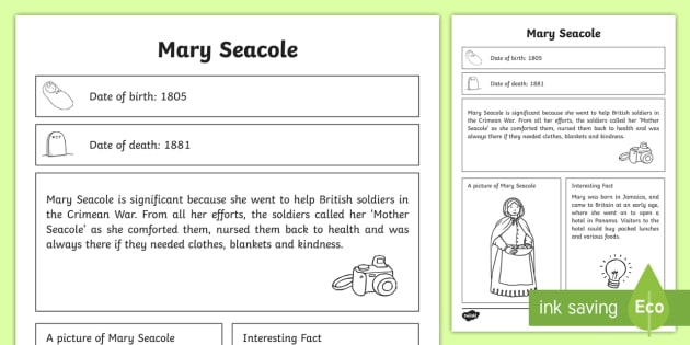 Mary Seacole Significant Individual Fact Sheet - fact sheet