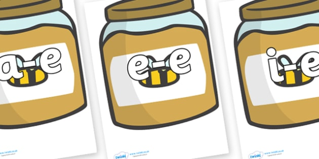 Modifying E Letters on Honey Jars - Modifying E, letters, modify, Phase 5, Phase five, alternative spellings for phonemes, DfES letters and Sounds
