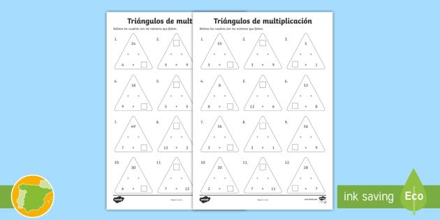 Fichas de actividad: Triángulos de multiplicación de x2 hasta x12 - mates, matemáticas, multiplicar, multiplicación, tablas de multiplicar, x2, x12, por dos, por doce