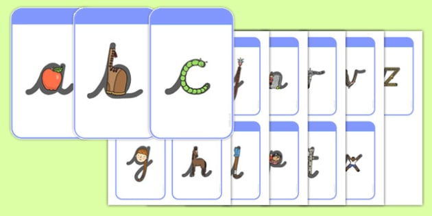 Alphabet Letter Shapes Flashcards - activity, guide, information, game, fun, pd, fine motor skills, challenge, letters, writing, english, handwriting, pen, pencil, grip, independent