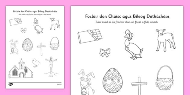 Irish Easter Words Dictionary Work Activity Sheet Gaeilge - irish, gaeilge, easter, vocabulary, colouring, dictionary work, worksheet