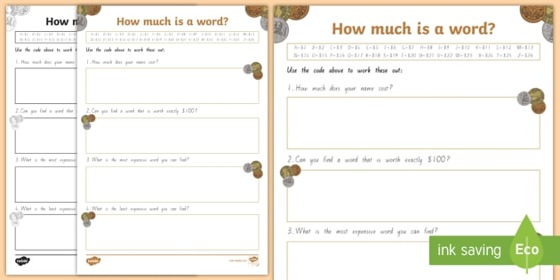 How Much Is a Word? Activity Sheet - New Zealand Maths Worksheetsmoney, codes, adding, addition, written methods, plus, additive strategi