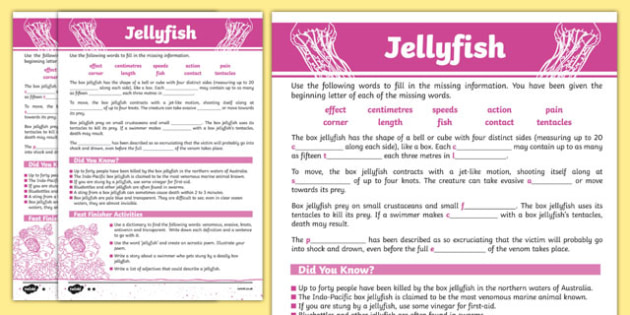 Australian Animals Years 3-6 Jellyfish Differentiated Cloze Passage Activity Sheet - australia, Australian Curriculum, animals, fish, differentiated, cloze, fast finisher, information, reading,austrailia,austrila,australua,austraila,aniamls,,cloze pr