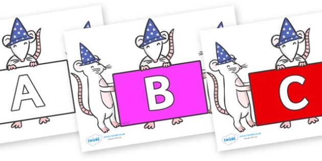 A-Z Alphabet on Magic Mice - A-Z, A4, display, Alphabet frieze, Display letters, Letter posters, A-Z letters, Alphabet flashcards
