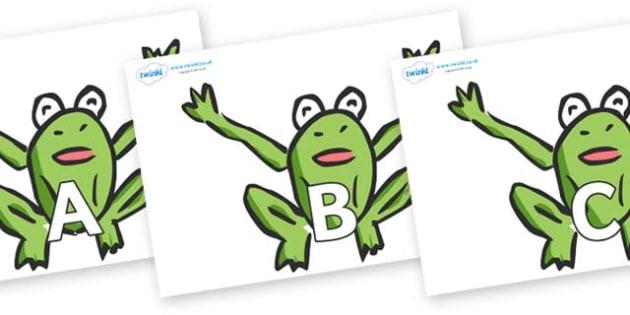 A-Z Alphabet on Frogs - A-Z, A4, display, Alphabet frieze, Display letters, Letter posters, A-Z letters, Alphabet flashcards