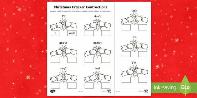 Christmas Cracker Contractions Activity Sheet - Christmas, crackers, contractions, root words, worksheet