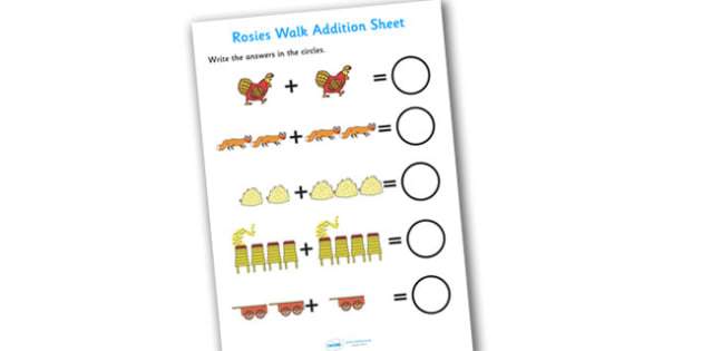 Addition Sheet to Support Teaching on Rosie's Walk - rosies walk, addition sheet, addition, addition worksheet, rosies walk worksheet, rosies walk addition sheet