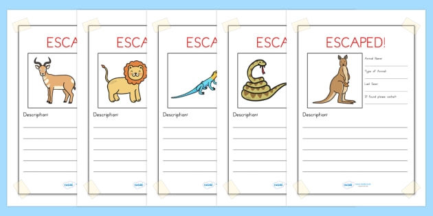 Escaped Animal Writing Frames - animals, zoo, writing, write